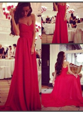 2019 Gorgeous Red Floor-Length/Long A-Line/Princess Sweetheart Stretch Satin Prom Dresses