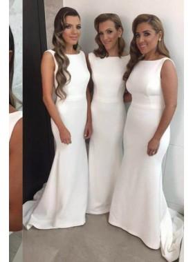 2019 Unique White Bateau Neck Mermaid/Trumpet Satin Prom Dresses