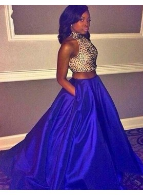 Royal Blue Floor-Length/Long A-Line/Princess Halter Beading Taffeta Prom Dresses