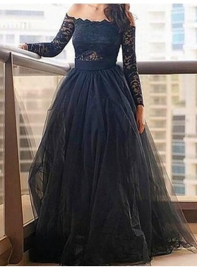 LadyPromDress 2018 Blue Floor-Length/Long A-Line/Princess Lace Long Sleeve Off-the-Shoulder Tulle Prom Dresses