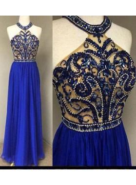 LadyPromDress 2019 Blue Floor-Length/Long A-Line/Princess Beading Halter Chiffon Prom Dresses