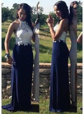 LadyPromDress 2019 Blue Cheap Prom Dresses Floor-Length/Long Column/Sheath Lace Backless Halter Chiffon