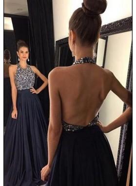2019 Junoesque Black Floor-Length/Long A-Line/Princess Halter Sequined Satin Prom Dresses