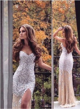 Cheap Champagne Prom Dresses Mermaid/Trumpet Sweetheart Beading Sequin