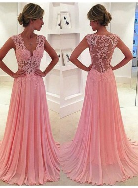 Floor-Length/Long A-Line/Princess V-Neck Flowers Chiffon Prom Dresses