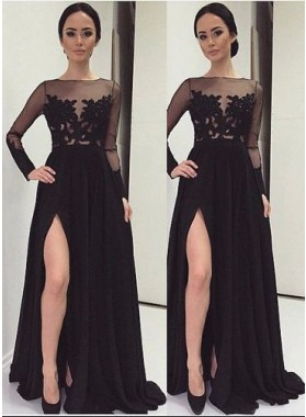 2019 Junoesque Black Floor-Length/Long A-Line/Princess Sweep/Brush Train Lace Prom Dresses