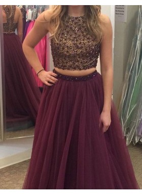 Floor-Length/Long A-Line/Princess Sequins Tulle Prom Dresses