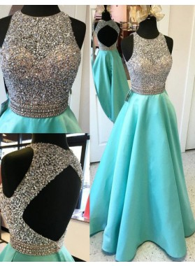 LadyPromDress 2019 Blue Floor-Length/Long A-Line/Princess Satin Prom Dresses