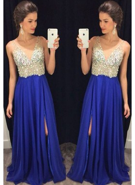 Royal Blue Floor-Length/Long A-Line/Princess V-Neck Sequins Chiffon Prom Dresses