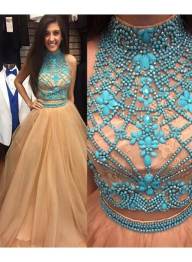 Floor-Length/Long A-Line/Princess High Neck Beading Tulle Prom Dresses