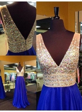 Royal Blue Floor-Length/Long A-Line/Princess V-Neck Crystal Detailing Chiffon Prom Dresses