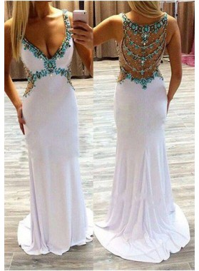 2019 Unique White Cheap Prom Dresses Floor-Length/Long Mermaid/Trumpet Straps Chiffon