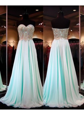 Floor-Length/Long A-Line/Princess Sweetheart Sequins Chiffon LadyPromDress 2019 Blue Prom Dresses