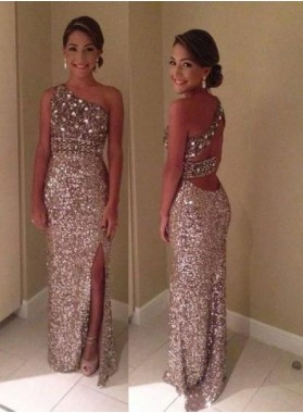 Cheap Prom Dresses Floor-Length/Long Column/Sheath One Shoulder Sequined