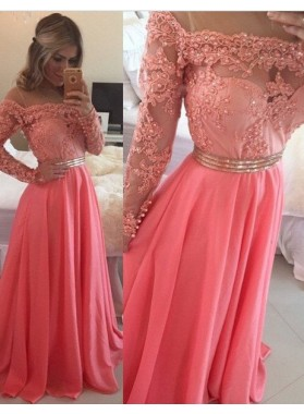 A-Line/Princess Off-the-Shoulder Pearl Detailing Chiffon 2019 Glamorous Pink Prom Dresses