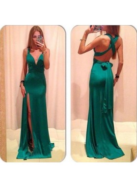 Floor-Length/Long Straps High-Slit Stretch Satin Prom Dresses