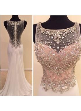 2018 Unique White Beading Column/Sheath Chiffon Prom Dresses