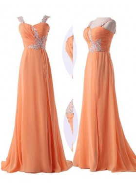 Floor-Length/Long Sweetheart Straps A-Line/Princess Chiffon Prom Dresses