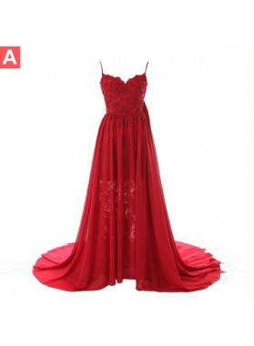 Floor-Length/Long Column/Sheath Spaghetti Straps Chiffon Prom Dresses