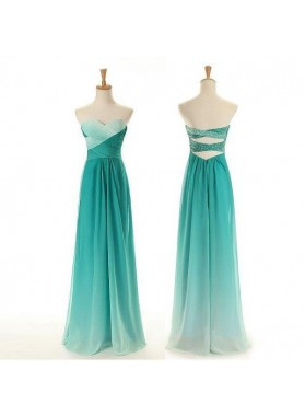 Floor-Length/Long Column/Sheath Sweetheart Chiffon Prom Dresses