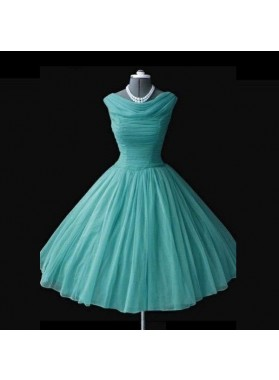 Ruching Knee-length A-Line/Princess Tulle Green Prom Dresses