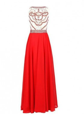 2019 Gorgeous Red Floor-Length/Long Jewel Column/Sheath  Chiffon Prom Dresses