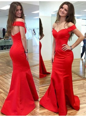 2020 Gorgeous Red Off-the-Shoulder Mermaid/Trumpet Satin Prom Dresses
