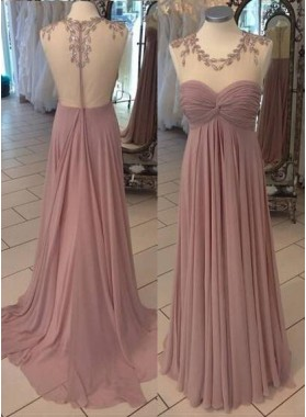 Beading Ruching A-Line/Princess Chiffon Prom Dresses