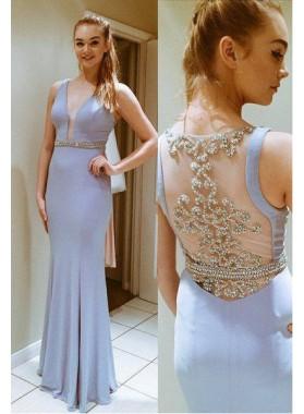 V-Neck Floor-Length/Long Stretch Satin Prom Dresses