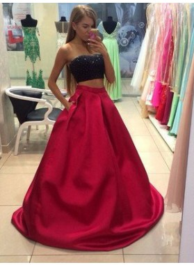 2019 Gorgeous Red Beading Strapless Floor-Length/Long A-Line/Princess Satin Prom Dresses