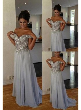 Beading Off-the-Shoulder A-Line/Princess Chiffon Prom Dresses
