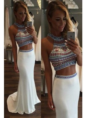 Mermaid/Trumpet Halter Sleeveless Natural Zipper Sweep/Brush Train Chiffon Prom Dresses