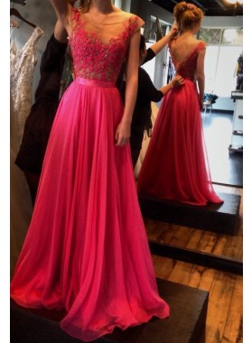 A-Line/Princess V-Neck Capped Sleeves Natural Zipper Chiffon Fuchsia Prom Dresses