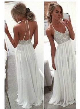2019 Unique White Column/Sheath Spaghetti Straps Sleeveless Natural Backless Floor-Length/Long Chiffon Prom Dresses