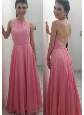 Column/Sheath Halter Sleeveless Natural Backless Floor-Length/Long Chiffon 2019 Glamorous Pink Prom Dresses