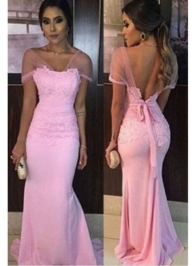 Mermaid/Trumpet Sweetheart Sleeveless Natural Backless Floor-Length/Long Chiffon Prom Dresses
