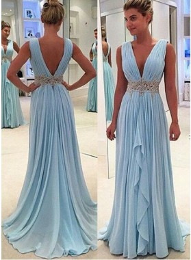 Column/Sheath V-Neck Sleeveless Natural Backless Floor-Length/Long Chiffon Prom Dresses