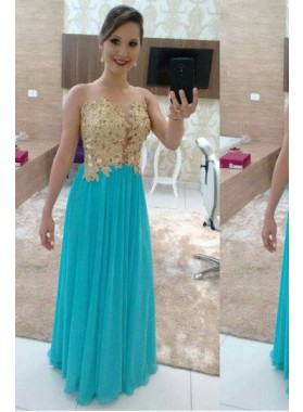 Column/Sheath Sleeveless Natural Zipper Floor-Length/Long Chiffon LadyPromDress 2019 Blue Prom Dresses