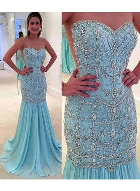 LadyPromDress 2019 Blue Mermaid/Trumpet Sweetheart Sleeveless Natural Zipper Floor-Length/Long Chiffon Prom Dresses