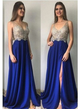 Royal Blue Column/Sheath V-Neck Sleeveless Natural Zipper Floor-Length/Long Chiffon Prom Dresses