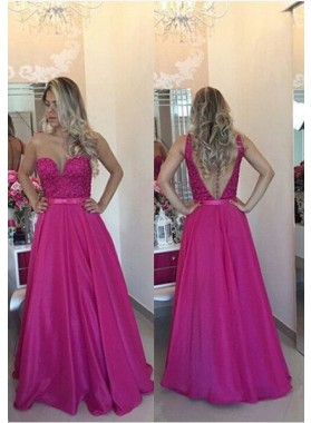 Column/Sheath Sleeveless Natural Zipper Floor-Length/Long Taffeta Fuchsia Prom Dresses