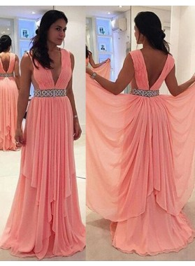 Column/Sheath V-Neck Sleeveless Natural Zipper Floor-Length/Long Chiffon 2019 Glamorous Pink Prom Dresses