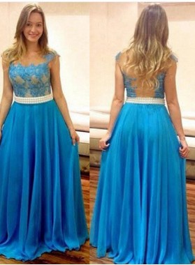 LadyPromDress 2019 Blue Column/Sheath Sleeveless Natural Zipper Floor-Length/Long Chiffon Prom Dresses