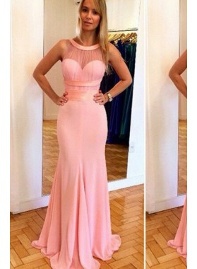 Mermaid/Trumpet Sleeveless Natural Zipper Floor-Length/Long Chiffon Prom Dresses
