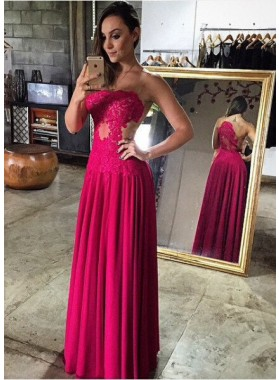 Burgundy Column/Sheath Strapless Sleeveless Natural Zipper Floor-Length/Long Prom Dresses
