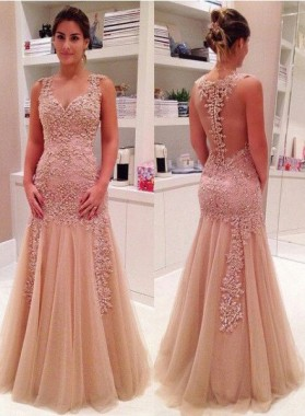Mermaid/Trumpet V-Neck Sleeveless Natural Floor-Length/Long Tulle Prom Dresses