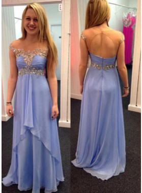 A-Line/Princess Sleeveless Natural Zipper Floor-Length/Long Chiffon LadyPromDress 2019 Blue Prom Dresses