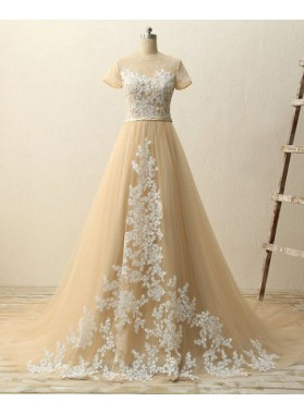 A-Line/Princess Short Sleeves Natural Zipper Appliques Tulle Prom Dresses