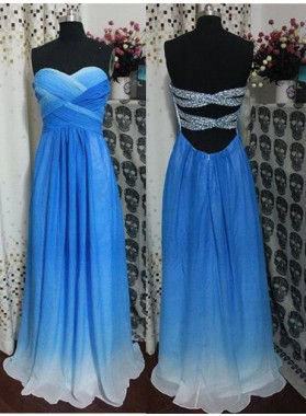 LadyPromDress 2019 Blue A-Line/Princess Sweetheart Sleeveless Floor-Length/Long Chiffon Prom Dresses