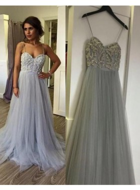 A-Line/Princess Spaghetti Straps Beading Floor-Length/Long Tulle Silver Prom Dresses